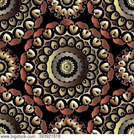 Paisley Round Mandalas Seamless Pattern. Floral Colorful Ornamental Background. Repeat Decorative Ba