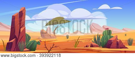 Desert Landscape With Rocks, Tropical Tree, Grass And Blooming Cactuses. Vector Cartoon Illustration