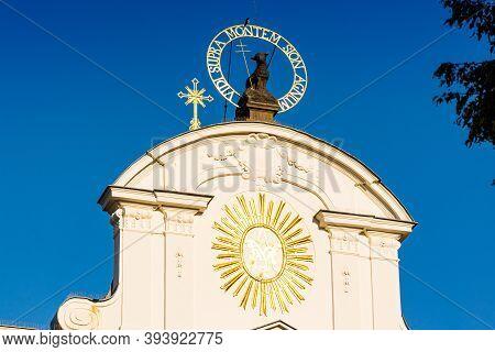 Prague, Czech Republic - September 19, 2020. Golden Details Of The Tops Of Brevnov Monastery