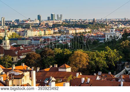 Prague, Czech Republic - September 19, 2020. Panorama Of Prague 2 And 4 With Vysehrad And Skyscraper