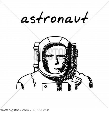 Astronaut In Spacesuit Hand-drawn Illustration. Cartoon Vector Clip Art Of A Portrait Of A Cosmonaut