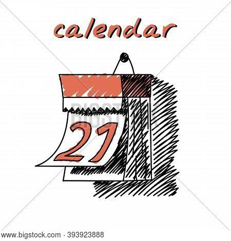 Wall Calendar Hand-drawn Illustration. Cartoon Vector Clip Art Of A Wall Calendar With Daily Tear-of
