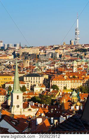 Prague, Czech Republic - September 19, 2020. Cityscape With Main Visible Point Zizkov Tower