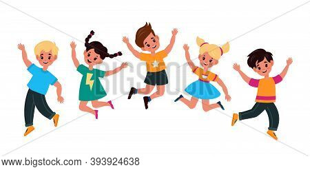 Kids Jumping. Happy Smiling Children Play And Jump Together, Adorable Active Boys And Girls Group Ce
