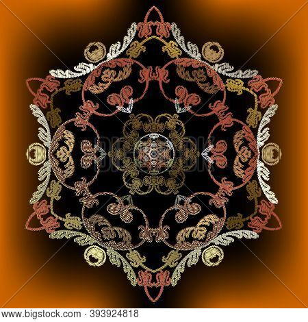 Embroidery Baroque Vector Mandala Pattern. Colorful Floral Glowing Background. Tapestry Grunge Wallp