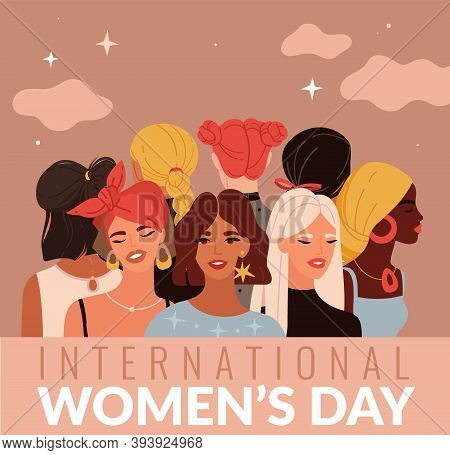 International Women Day. Young Ladies Different Nationalities, Female Greeting Card, Variety Hairsty