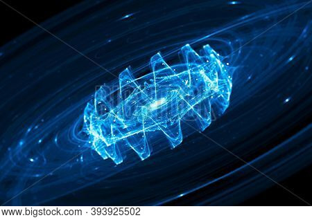 Blue Glowing Gravitational Wave In Deep Space, Computer Generated Abstract Background, 3d Rendering