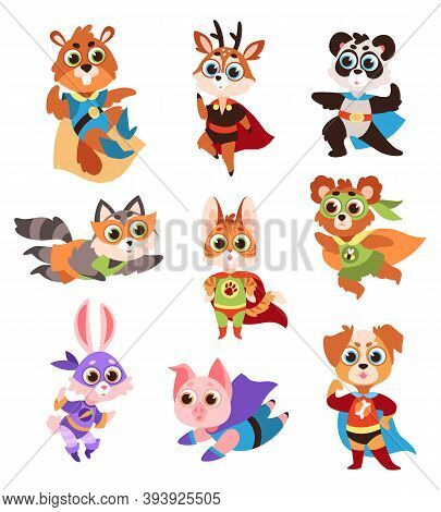 Hero Animals Characters. Cute Children Animals Superheroes In Active Poses Collection, Fun Kids Crea