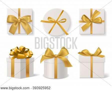 Realistic Decorative Gift Boxes. 3d Gifts White Cardboard Packaging Templates, Golden Ribbons And Bo