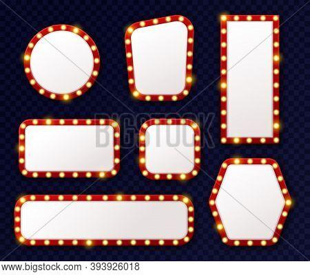 Retro Light Frames. 3d Realistic Luminous Vintage Frames With Glowing Light Bulbs Perimeter Around,