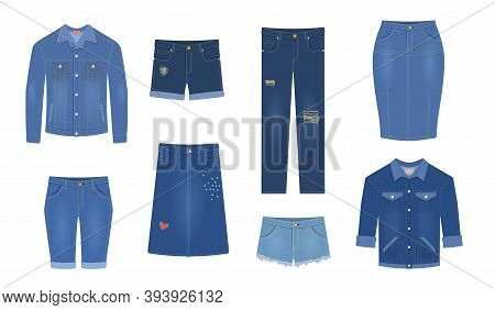 Jeans. Trendy Denim Garment Different Types Blue Female Jeans Pants, Cotton Jacket And Shirt, Shorts