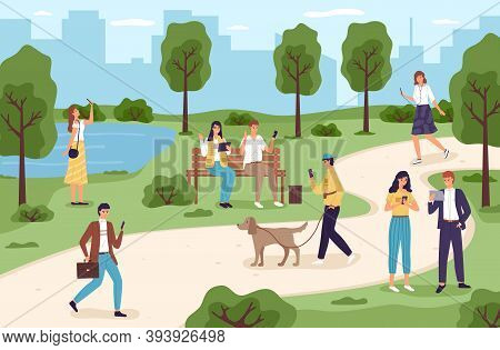 People With Gadgets In Park. Men And Women Spend Time In City Garden Using Electronic Devices, Walki
