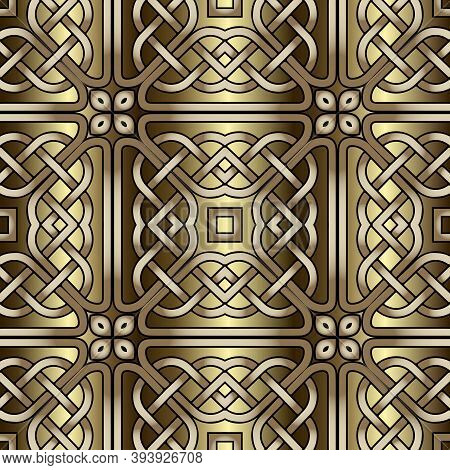 Lines Seamless Pattern. Celtic Grid Ornament. Repeat Curved Lines Grid Backdrop. Ethnic Tribal Style