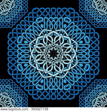 Blue Celtic Mandalas Seamless Pattern. Vector Lines Background. Repeat Line Art Knotted Arabic Ornam