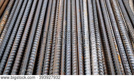 Steel Rods Or Bars Work Reinforcement In Concrete Structure Of Building.background Texture Of Steel