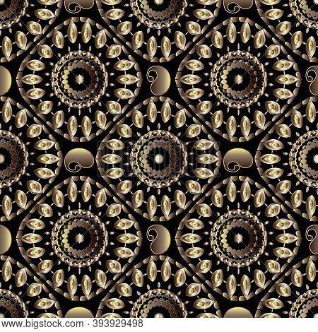 Paisley Seamless Mandalas Pattern. Vector Ornamental Textured Background. Repeat Surface 3d Backdrop