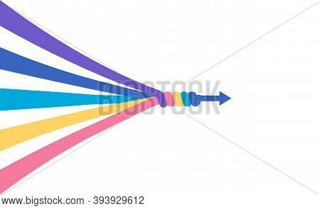 The Abstract Concept Of Teamwork, Partnership, Merger, Alliance. Many Multi-colored Lines Merge Into