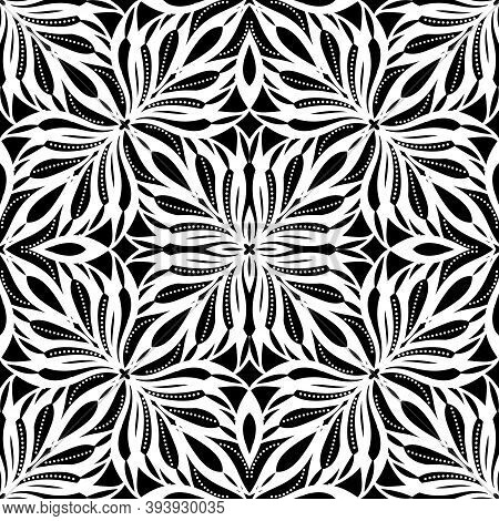 Floral Seamless Pattern. Vector Black And White Ornamental Background. Ethnic Style Repeat Decorativ