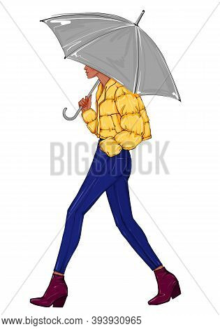 Hand Drawn Fashion Sketch Girl With Grey Umbrella. Woman Wearing Short Yellow Jacket And Steps On A