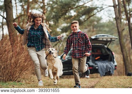 Cheerful Girl With Brother Have Walk With Their Dog Outdoors In Forest At Autumn Or Spring Season Ne