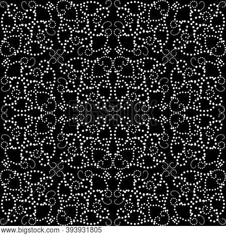 Black And White Dotted Seamless Pattern. Ornamental Vector Background. Repeat Polka Dots Backdrop. D