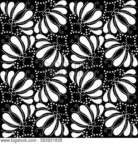 Black And White Paisley Seamless Pattern. Ornamental Vector Background. Repeat Polka Dots Backdrop.