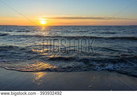 Sunrise On The Sea, The Sun Sets Over The Horizon On The Sea, Sunset On The Sea Coast