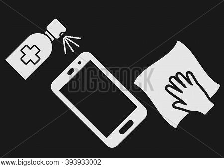 Smartphone Disinfection Icon. Wiping Mobile Phone Display Using Cleaning Cloth. Disinfection Smartph