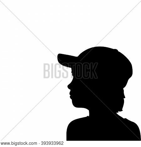 Silhouette Face Boy In Baseball Cap Closeup. Illustration Graphics Icon Vector