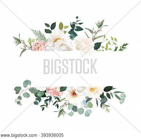Retro Delicate Vector Design Flower Horizontal Banner. Creamy Peony, Pink Garden Rose, White Ranuncu