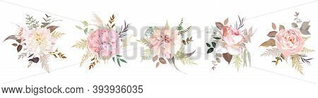 Luxurious Beige Trendy Vector Design Floral Bouquets. Pastel Pink Rose, Blush, Creamy Dahlia, Hydran
