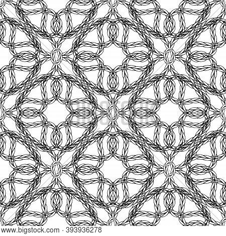 Braided Intricate Vector Seamless Pattern. Ornamental Vintage Embroidery Black And White Background.