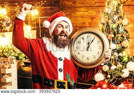 Christmas Time. Hipster Man, Bearded Santa Celebrate Thanksgiving Day And Christmas. Christmas Peopl