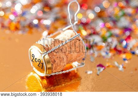 New Year's Concept, Champagne Cork New Year's 2021. Selective Focus