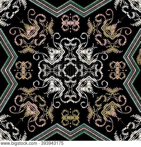 Ethnic Floral Embroidery Seamless Pattern. Vector Grunge Background. Vintage Embroidered Wallpaper.