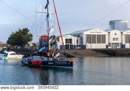 Les Sables D'olonne, France - November 08, 2020: Benjamin Dutreux Boat (omia - Water Family) In The