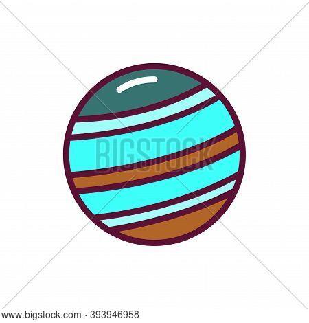 Jupiter Planet Color Line Icon. Pictogram For Web Page, Mobile App, Promo.