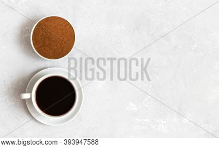 Chicory Coffee Drink And Chicory Powder On White Background. A Small Cup Of Coffee. Decaf. Space For
