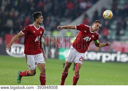 Sofia, Bulgaria - 22 October, 2020: Valentin Antonov (r) Of Pfc Cska-sofia In Action During The Uefa