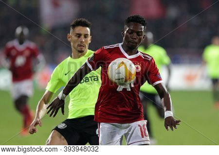 Sofia, Bulgaria - 22 October, 2020: Bradley Mazikou (r) Of Pfc Cska-sofia In Action During The Uefa