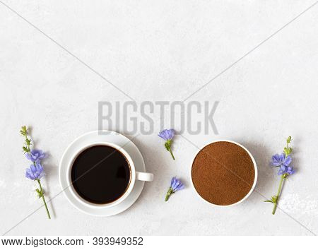 Healthy Drink With Chicory, Chicory Powder And Blue Flowers On A White Background. Coffee Substitute