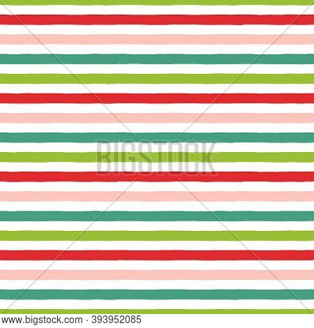 Christmas Stripe Seamless Pattern. Green, Red, Pink Hand Drawn Stripes On White Background. Holiday