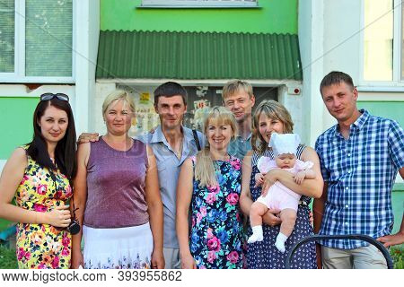 Lodz / Poland. 22 July 2014: Group Of Relatives Gathered For A Family Photo During The Wedding Anniv