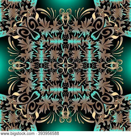 Baroque Ornamental Vector Seamless Pattern. Vintage Glowing Green Background. Surface Floral Baroque