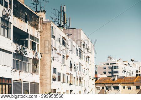 Multiple Dwelling Houses In A Typical Residential District Of A Europian Uptown With Buildings Facad