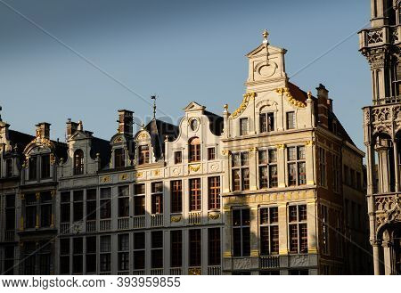 Brussels, Belgium, August 2019. The Great Square Or Grote Markt. The Evening Light Enhances Its Beau
