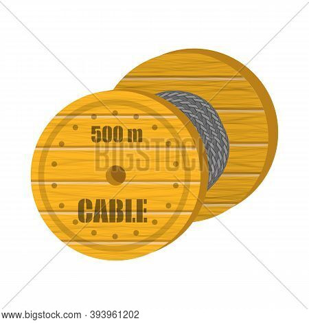Coaxial Digital Cable With Wooden Coil Isolated On White Background.