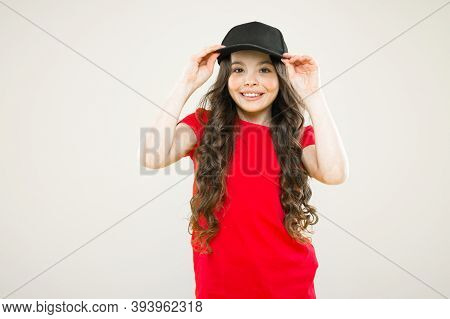 Cute Child Wear Cap Or Snapback Hat. Little Girl Wearing Baseball Cap. Summer Sun Protection Cap. Gi