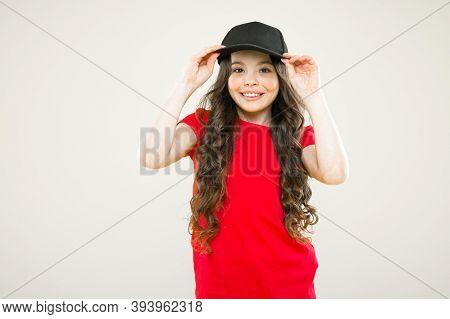 Cute Child Wear Cap Or Snapback Hat. Little Girl Wearing Baseball Cap. Summer Sun Protection Cap. Gi