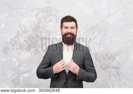 Menswear And Fashion Concept. Man Handsome Bearded Businessman Wear Formal Suit. Man Of Style And St